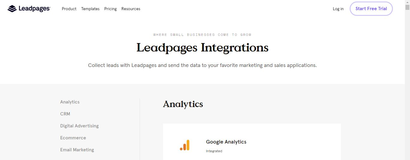 Leadpages' integrations