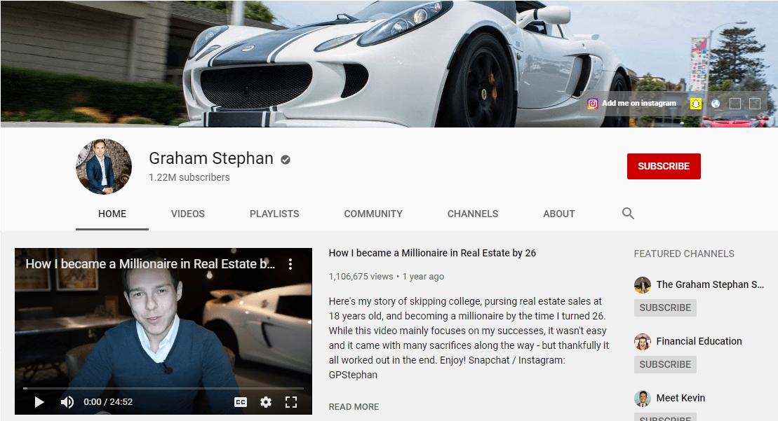 Graham Stephan's youtube channel