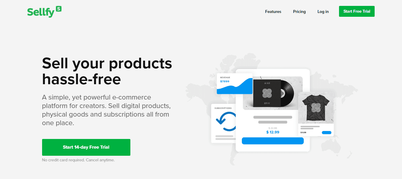 Sellfy's home page