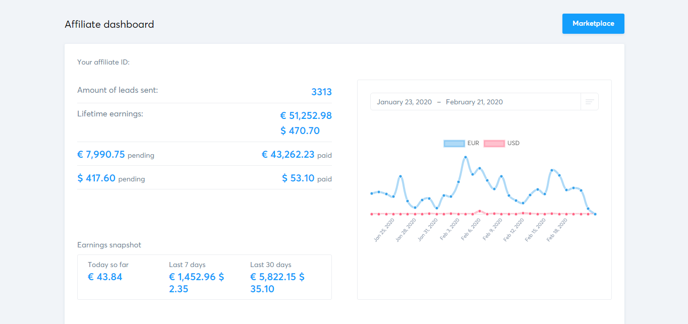 Systeme.io's affiliate dashboard