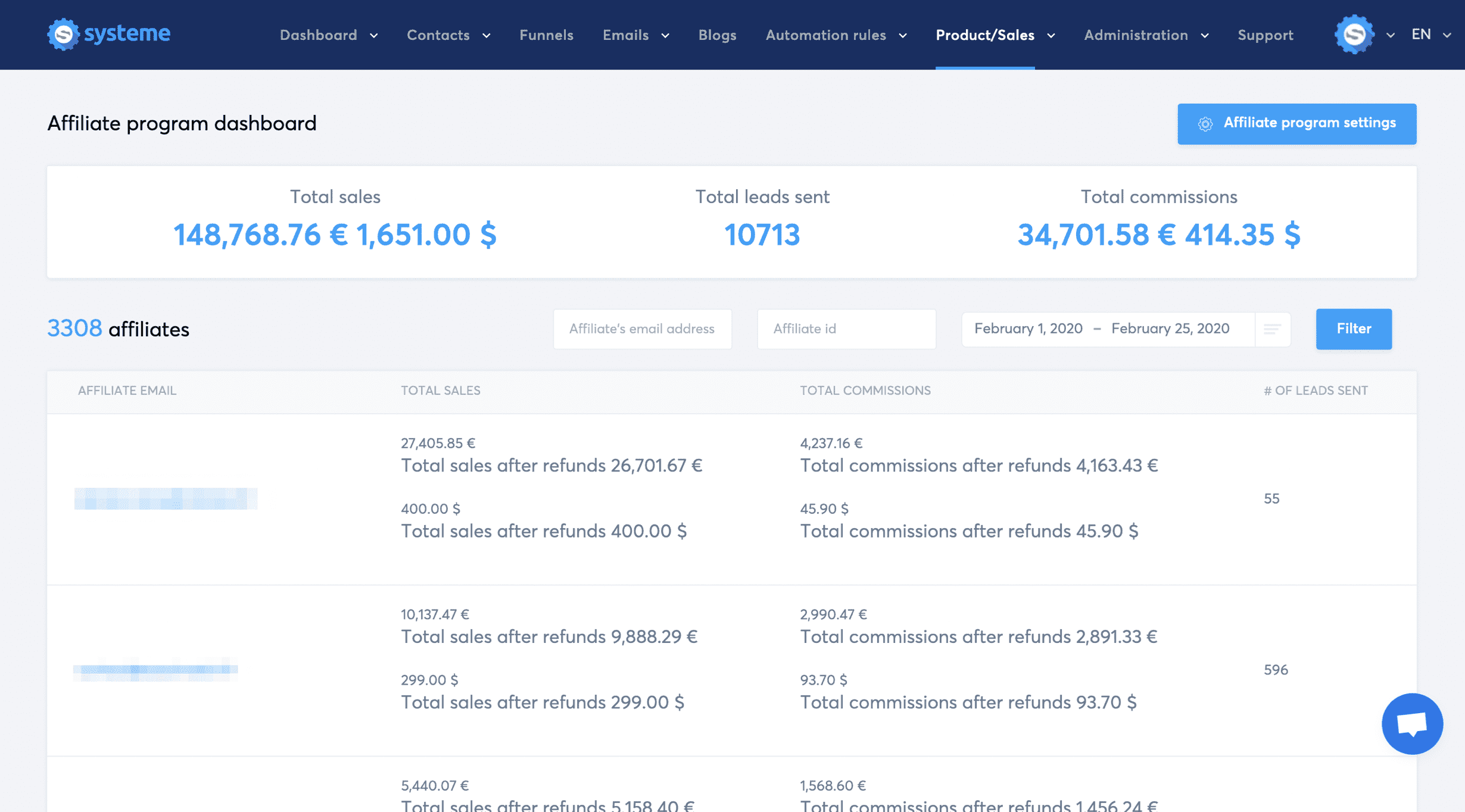 Systeme.io's affiliate program dashboard
