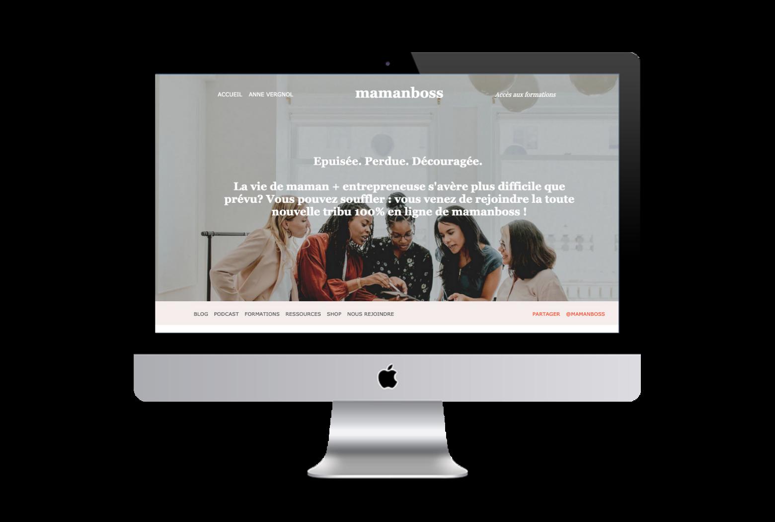 Site web mamanboss.com et sa communauté d'entrepreneures